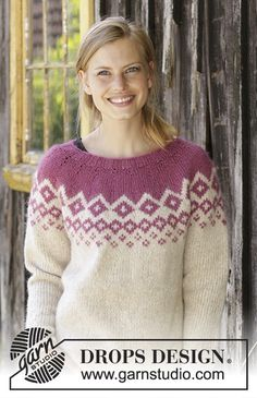 Diamond delight / DROPS - free knitting patterns by DROPS design Diamond Delight / DROPS - Knitted pullover with round yoke in DROPS Air. The piece is knitted from top to bottom . Nordic Pullover, Handgestrickte Pullover, Nordic Sweater, Baby Knitting Patterns, Knitting Designs, Free Knitting, Crochet Patterns, Drops Design, Laine Drops