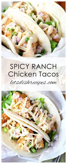 Breaded popcorn chicken is tossed in a spicy, creamy Ranch sauce, then served in. - Breaded popcorn chicken is tossed in a spicy, creamy Ranch sauce, then served in tortillas with let - Chicken Ranch Tacos, Baked Chicken Tacos, Chicken Taco Recipes, Mexican Food Recipes, Breaded Chicken, Rotisserie Chicken Tacos, Sriracha Chicken, Slow Cooking, Cooking Recipes