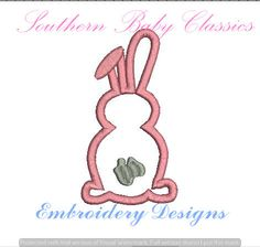 Easter Rabbit Bunny Applique Design File for Embroidery Machine Monogram Applique Instant Download Vintage Classic Spring Baby Girl by SouthernBabyClassics on Etsy