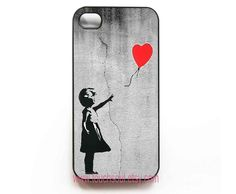 Banksy Balloon Girl iphone 4 Case Cover, iPhone 4s Case, iPhone 4 Hard Case, iPhone Case. $9,99, via Etsy.