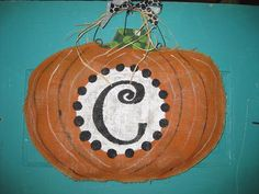 Burlap Pumpkin door hanger with initial by Burlapulous on Etsy, $32.00