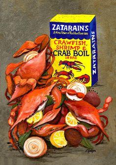 Blue Onion Art - Louisiana Boiled Crabs by Elaine Hodges - # Louisiana Art, Louisiana Homes, New Orleans Louisiana, Louisiana Kitchen, Louisiana Swamp, Cajun Recipes, Seafood Recipes, Shellfish Recipes, Creole Recipes