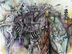 "Saatchi Online Artist Jennifer Gillia Cutshall; Drawing, ""Artemis, Bearing The Weight of 1,000 Deaths"" #art"