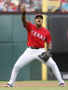 Texas Rangers third baseman Adrian Beltre (29) motions towards a foul pop fly in the first inning during the Arizona Diamondbacks vs. the Texas Rangers major league baseball game at Globe Life Park in Arlington on Tuesday, July 7, 2015. (Louis DeLuca/The Dallas Morning News)