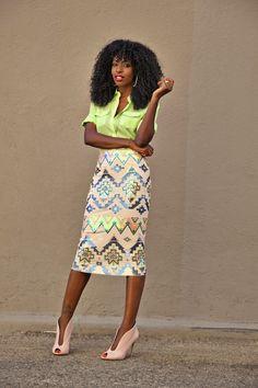 Button-Down Shirt   Embellished Aztec Print Midi Skirt