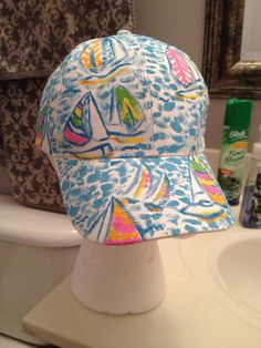 Lilly pulitzer inspired hand painted baseball hat with optional monogram 20% off ~~$20