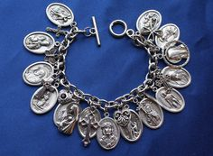 Religious Saint Medal Charm Bracelet Divine Mercy Religious Bracelet by faithsymbol
