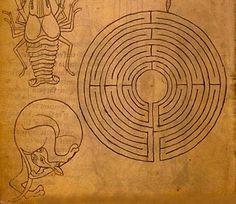 Le tracé d'un labyrinthe circulaire, semblable à celui de la cathédrale de Chartres, de la chapelle de la prévôté de Toulouse, et de la cathédrale de Mirepoix - Villard de Honnecourt (XIIIème siècle)