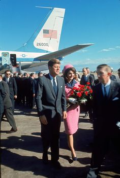 President John F Kennedy and his wife, Jackie, arriving at Love Field, on the day of his assassination.