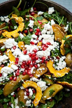 Delicata squash salad with roasted potatoes and pomegranate