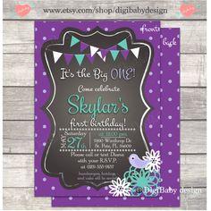 Girls Birthday Party Invitation purple polka dot by DigiBabyDesign, $15.00, first birthday