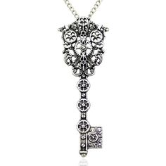 Vintage Victorian Filigree Skeleton Key Watch Clock Gear Cog Steampunk... ($5.79) ❤ liked on Polyvore featuring jewelry, necklaces, chain pendant necklace, victorian pendant necklace, vintage necklace pendants, pendant necklace and victorian pendant