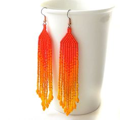 Orange and yellow seed bead earrings   beadwork by Anabel27shop, $16.00