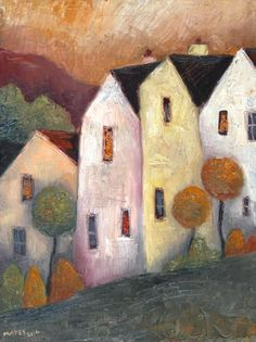 Tall Hillside Houses (Reserved for CB) by Jeremy Mayes Abstract Landscape, Abstract Art, Naive Art, Art Graphique, Whimsical Art, Art Fair, Urban Art, Painting Inspiration, Home Art