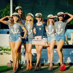 Add a touch of nautical chic to your hen party. Be inspired by these gorgeous ladies and their stylish version of the hen party theme. Bachelorette Outfits, Bachlorette Party, Bachelorette Cruise, Nautical Bachelorette Party, Nautical Bridal Showers, Nautical Party, Hens Party Themes, Hen Party Decorations, Bachelorette Party Decorations