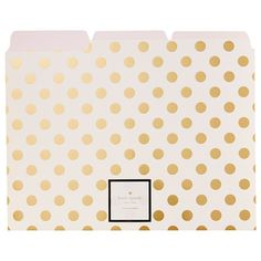 Maintain a clean and stylish office space by keeping important loose papers neatly organized in these beautiful file folders with gold polka dots from Kate Spade New York. Set of x Gold Polka Dots, Gold Stripes, Kate Spade Stationery, Office Stationery, Classy Cubicle, Cubicle Ideas, Office Cubicle, Cute Office Supplies, Desk Supplies
