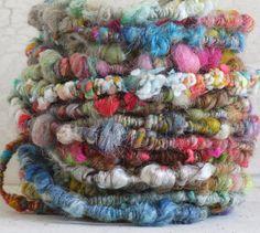 Batt Scrap Coils - handspun supercoil art yarn, super bulky