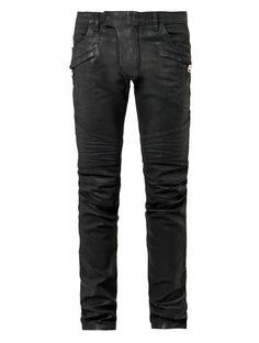 Balmain High-shine cotton biker jeans on shopstyle.com