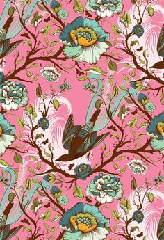 Tail Feathers by Tula Pink for Art Prints (Gelaskins) Textiles, Textile Prints, Textile Patterns, Print Patterns, Motif Floral, Floral Prints, Illustrations, Illustration Art, Pattern Art