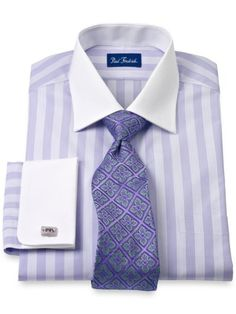 2-Ply Cotton Striped Windsor Collar French Cuff Trim Fit Dress Shirt from Paul Fredrick