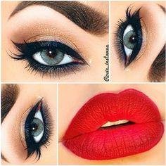 Soft brown eye red lip makeup