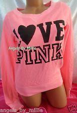 ❤️99 Cent #ebay #auctions end #sunday #VSPINK ❤️NEW Victoria's Secret PINK L NEON CORAL Campus Heart SIGNATURE Crew Sweat shirt