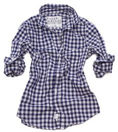 Barry Shirt in large navy gingham, Frank and Eileen