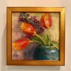 Tulip painting, oil on board, floral painting Tulip Painting, Tulips, Paintings, Oil, Board, Floral, Paint, Painting Art, Florals