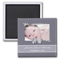 An elegant grey photo birth announcement fridge magnet with a silver ribbon bow design. Personalize by adding your newborn baby picture, baby name, and birth date. http://www.zazzle.com/elegant_photo_birth_announcement_silver_ribbon_magnet-147051476412039162?rf=238835258815790439