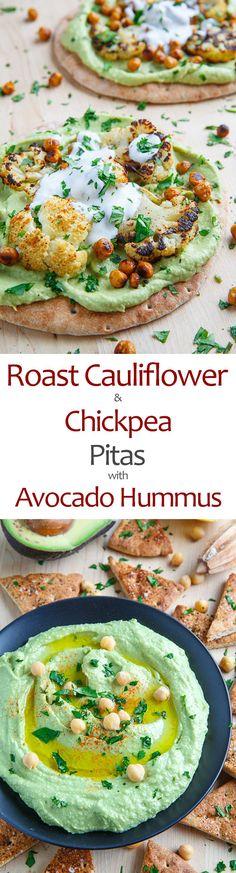 Roasted Cauliflower and Chickpea Pitas with Avocado Hummus