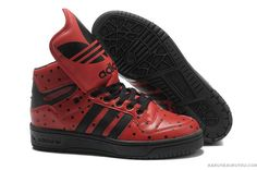 cheap for discount 024f3 e1cf9 Adidas Jeremy Scott Big Tongue Red and Black Points