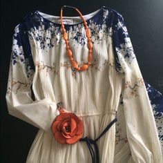 DRESS VINTAGE 60'S CLASSIC 60's Hal Ferman vintage floral pleated skirt bottom pleated w/elastic waist long sleeve VERY UNIQUE boat neckline floral colors in dress is navy orange n off white ⭐️⭐️⭐️SELLING ON EBAY for $80 HAL FERMAN Dresses