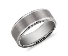 Brushed and Polished Comfort Fit Wedding Ring in Classic Gray Tungsten Carbide #BlueNile