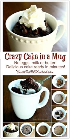 I had fun playing in my kitchen today and made a Chocolate Crazy Cake in a Mug! Not familiar with Crazy cake? The recipe is also known as Wacky Cake and Depression Cake - No Eggs, Milk, Butter, Vegan Desserts, Just Desserts, Delicious Desserts, Yummy Food, Tasty, 5 Minute Desserts, Sweet Recipes, Cake Recipes, Dessert Recipes