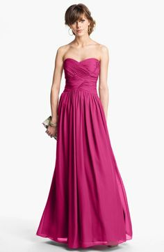 Long mulberry dress ideas- JS Boutique Strapless Ruched Chiffon Gown | Nordstrom