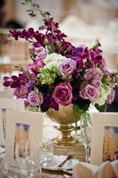 plum and gold floral arrangement - Google Search