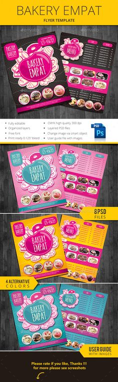 Bakery Empat — Photoshop PSD #cupcakes flyer #tart • Available here → https://graphicriver.net/item/bakery-empat/13712220?ref=pxcr