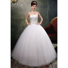 $110.68 Graceful Beading and Rhinestone Embellished Ball Gown Wedding Dress For Bride