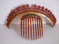 Old rare jewelry crown tiara comb diademe empire coral beads - 19ème   Art, antiquités, Objets du XIXe et avant   eBay!