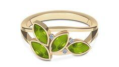 Leaves & Dew Diamond (0.03 ct) & Peridot (3*6 mm) Ring, 18K Yellow Gold