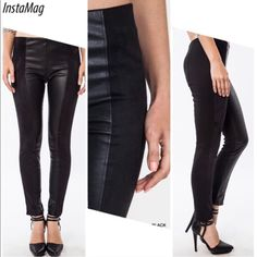 "🌺HP 10/26🌺VERSATILE LEATHER LIKE LEGGINGS! THEY'RE BACK! Definite staple for any closet. Leggings with very soft, leather like panel in the front, a brushed cotton suede material on the sides and polyester/cotton/spandex fabric. Wear them tucked into boots, great with heels or flats.                                                                                ♦️S: waist 26-32"" hips 33-42"" inseam 28.5""                     ♦️M: waist 28-36"" hips 35-44"" inseam 29""             ♦️L: waist…"