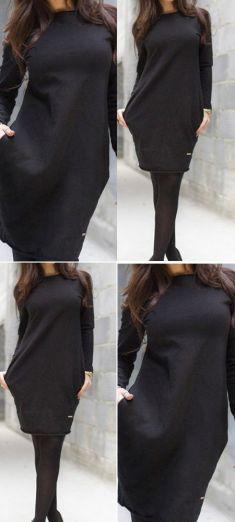Rochie casual neagra cu buzunare Casual, Skirts, Fashion, Moda, Fashion Styles, Skirt, Fashion Illustrations, Gowns