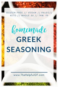 Homemade Greek seasoning is so easy! It takes only a couple seconds to mix up and can be used in so many dishes. Plus—tips to ensure that your spices are gluten-free. This blend is gluten-free, dairy-free, vegan, paleo, low carb, Whole 30, keto, and a Fuel Pull (FP) on the Trim Healthy Mama (THM) plan. #greekseasoning #homemadespicemix #glutenfree #Whole30 #greeksalad #THM