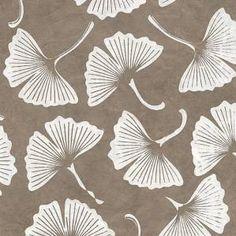 "White+on+Tan+Ginkgo+Leaves+Nepalese+Lokta+Paper+20""+x+30"""