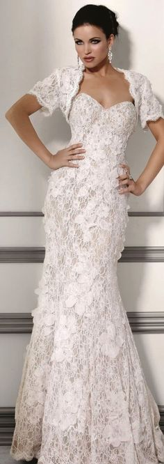 JOVANI – Beautiful Lacy Gown For a walk down the aisle, or to wear to a formal occasion, this is the perfect gown to wear. Its elegance, grace & beauty will make you the toast of the town..K♥♥♥♥♥