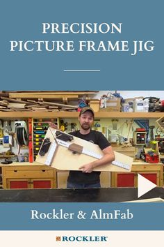 Need a quick and easy method to cut perfect picture frames? This jig will show you the way. Michael Alm shows you how to build it in the video here!  #createwithconfidence #almfab #michaelalm #pictureframe #diyjig Beginner Woodworking Projects, Woodworking Videos, Woodworking Shop, Woodworking Plans, Make Pictures, Wood Working For Beginners, Frugal, Picture Frames, Workshop