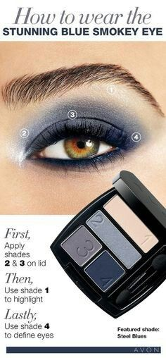 How to wear the Stunning Smoky Blue Eye - Matte Eyeshadow Quad - All matte numbered shades.  First, apply shades 2 & 3 on lid. Then use shade 1 to highlight. Lastly, use shade 4 to define eyes. #eyeshadow #matte #smoky #tutorial #avonrep