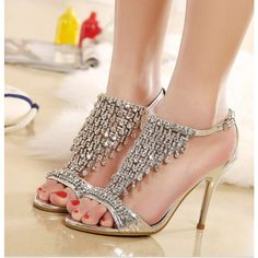 727c1d71232f Champagne Evening Shoes T Strap Sandals Rhinestone Prom Shoes