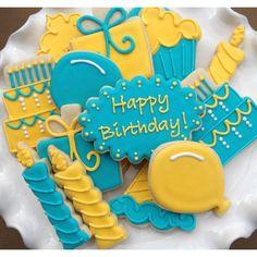 Happy Birthday Celebration Sugar Cookies by NotBettyCookies Rainbow Sugar Cookies, Sugar Cookie Royal Icing, Iced Sugar Cookies, Happy Birthday Cookie, Happy Birthday Celebration, Birthday Cookies, Fancy Cookies, Cute Cookies, Cupcake Cookies
