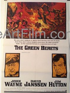 Happy Birthday #AldoRay https://eartfilm.com/search?q=aldo+ray #actors #acting #WereNoAngels #TheGreenBerets #movies #posters #film #cinema #movieposters    Green Berets 1968 27x41 Original U.S One Sheet Movie Poster